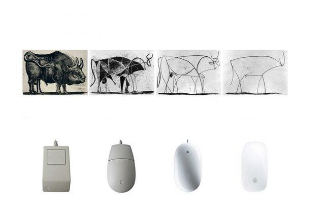 Эволюцию продуктов Apple в университете компании часто иллюстрируют через литографию «Бык» Пабло Пикассо (1941–1945) . Изображение № 1.