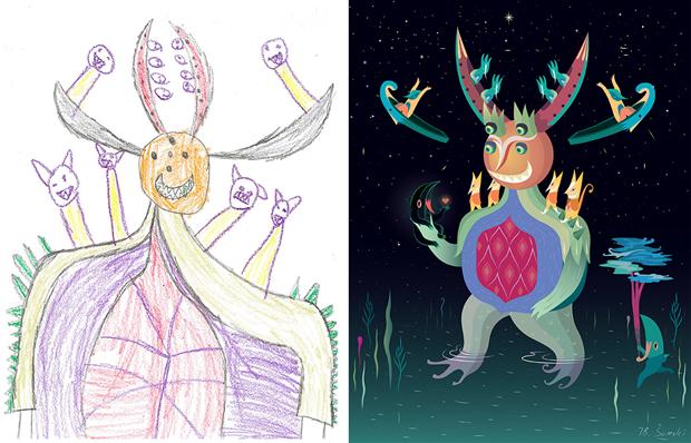 Художники создали монстров наоснове детских рисунков. Изображение № 21.