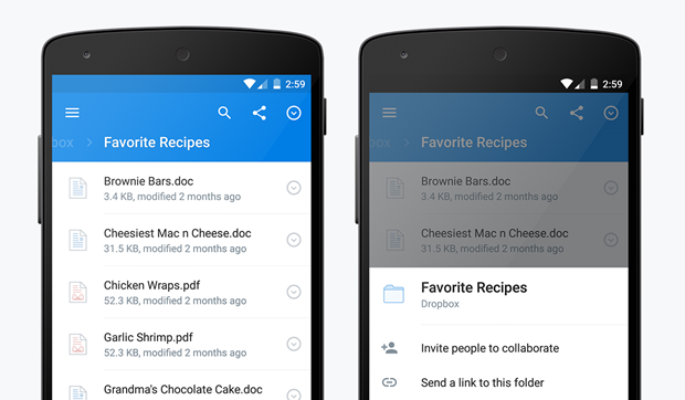 Dropbox показал приложение вматериальном дизайне . Изображение № 4.
