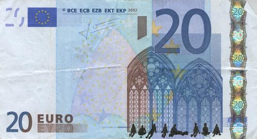 Художник в знак протеста изрисовал банкноты на 3555 евро. Изображение № 24.