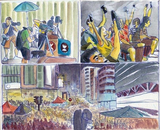 Художник представил скетчи о протестах в Гонконге. Изображение № 5.