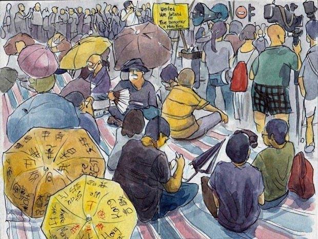Художник представил скетчи о протестах в Гонконге. Изображение № 7.