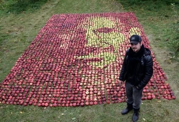 Канадский художник выложил портрет Стива Джобса из яблок. Изображение № 1.