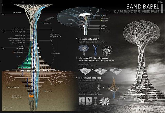 Китайские архитекторы предложили концепцию небоскрёба-гриба в Сахаре. Изображение № 3.