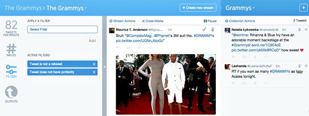 Экран с настройкой фильтров и отбором твитов. Изображение № 2.