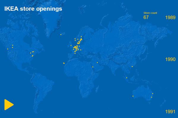 Британский дизайнер показал развитие сети IKEA на интерактивной карте . Изображение № 1.