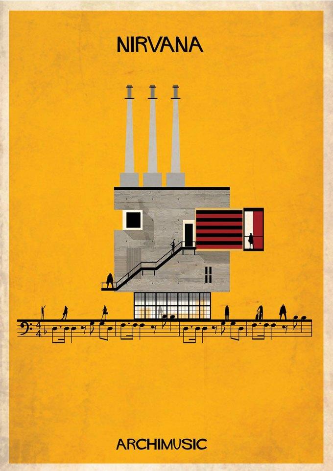 Испанский архитектор превратила песни в здания для новой серии плакатов . Изображение № 18.