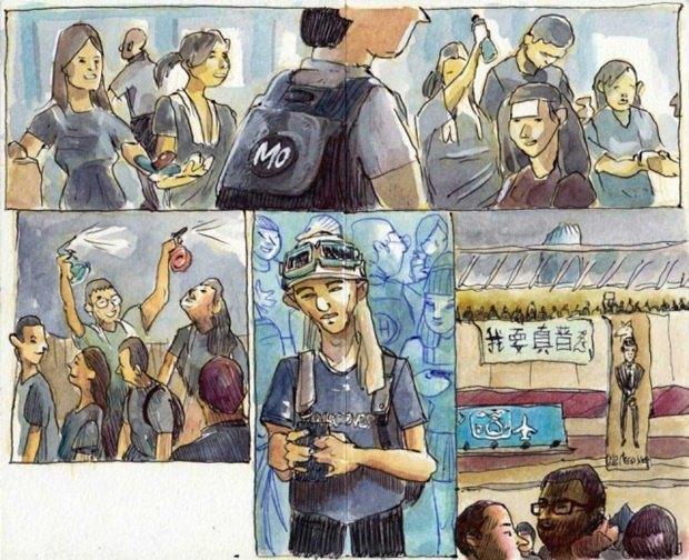 Художник представил скетчи о протестах в Гонконге. Изображение № 4.