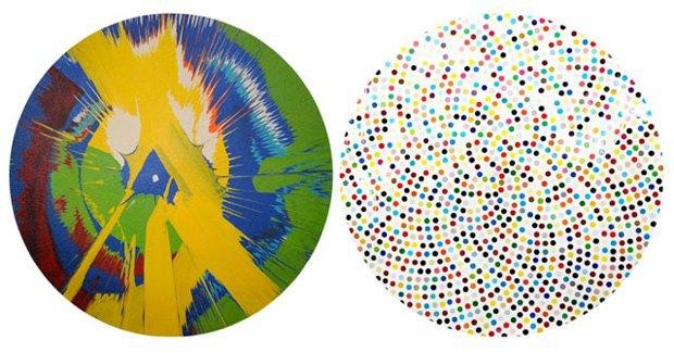 Слева — одна из подделанных картин, справа — принт работы Дэмьена Херста. Изображение № 1.