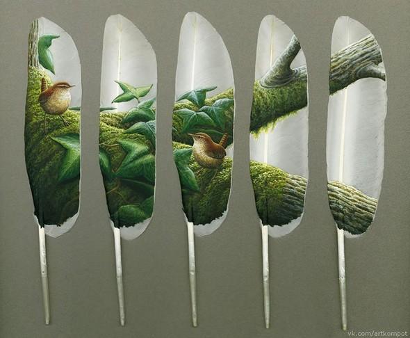 Рисунки на перьях от Ян Дави. Изображение № 8.