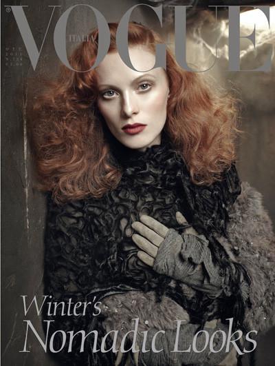 Обложки Vogue: Карен Элсон для итальянского и Кэндис Свейнпол для бразильского. Изображение № 1.