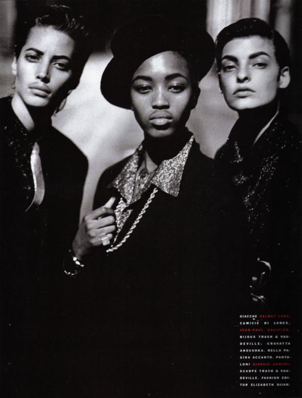 Архивная съёмка: Линда Евангелиста, Наоми Кемпбелл и Кристи Терлингтон для Vogue. Изображение № 1.
