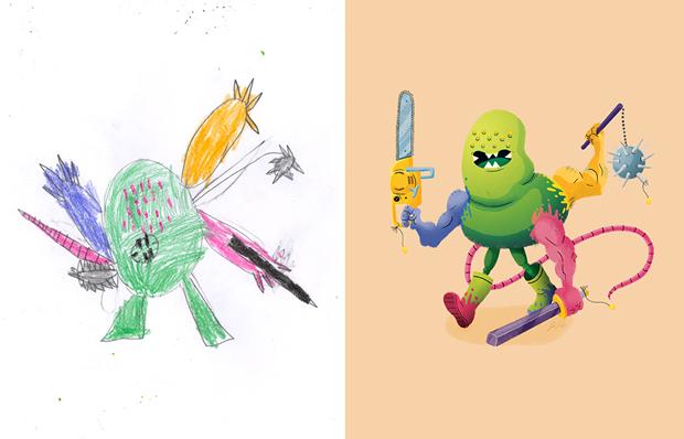 Художники создали монстров наоснове детских рисунков. Изображение № 30.