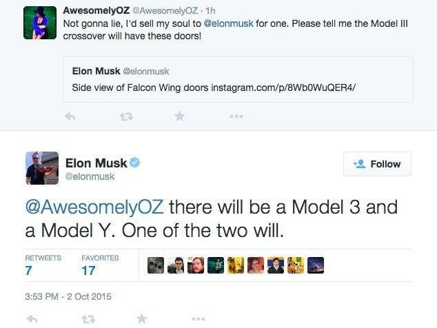 Илон Маск написал в твиттере об автомобиле Tesla Model Y. Изображение № 1.