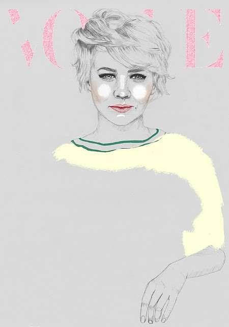Vogue Covers: знаменитая Hazel Castle нарисовала журнал карандашом. Изображение № 7.