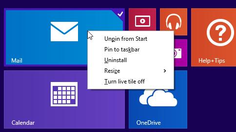 Меню управления плитками в планшетном интерфейсе Windows 8.1.1 теперь раскрывается списком, а не футером. Изображение № 2.