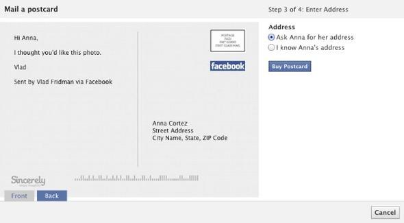 Facebook разрешит посылать настоящие почтовые открытки. Изображение № 2.