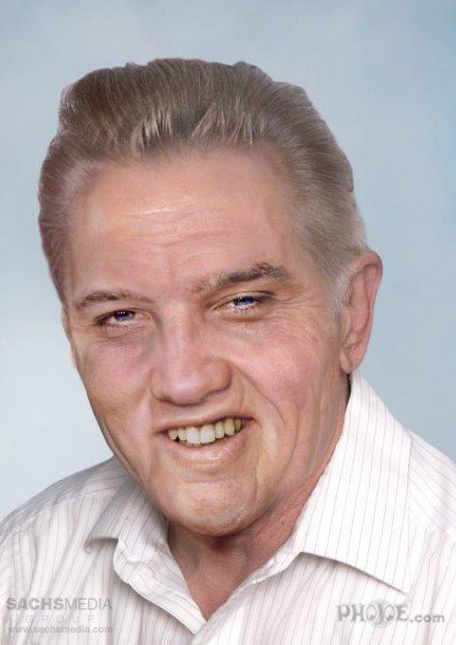 Элвис Пресли, король рок-н-ролла. Умер 16 августа 1977 года в возрасте 42 лет. На фотографии Пресли 78 лет. Изображение № 2.