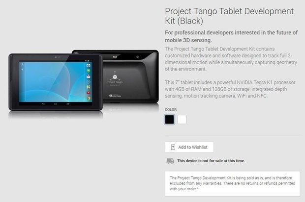 Планшеты с 3D-сканером  Project Tango появились в Play Store. Изображение № 1.