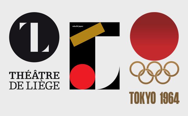 Слева направо: логотип Театра города Льеж авторства Оливера Деби, логотип кампании по сбору денег пострадавшим от землетрясения авторства Эндрю Джексона и логотип Летних Олимпийских игр в Токио 1964 года . Изображение № 16.