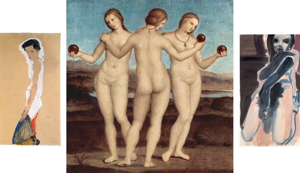 Раздевающаяся женщина, Эгон Шиле, 1911; Три грации, Рафаэль, 1501-05; Feather Stola, Марлен Дюмас, 2000. Изображение № 8.