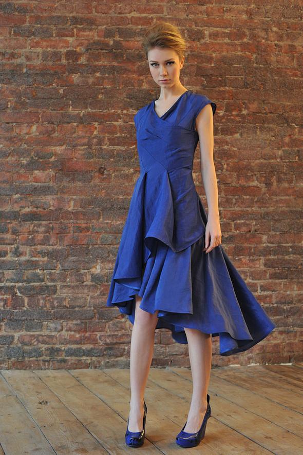 CW82 платье синие, состав:50% шелк, 50% хлопок размеры: s, м. Изображение № 24.