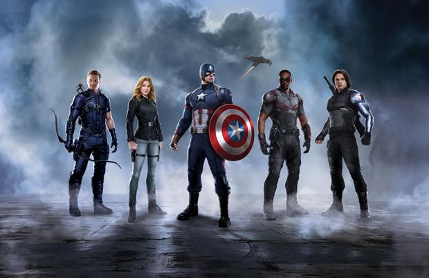 Слева направо: Человек-муравей, Соколиный глаз, Шэрон Картер, Капитан Америка, Redwing (летящий дрон), Сокол, Зимний солдат. Изображение № 1.
