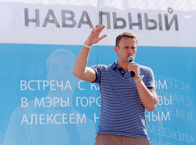 Алексей Навальный во время выступления в рамках своей предвыборной кампании на пост мэра Москвы в 2013 году. Изображение № 1.