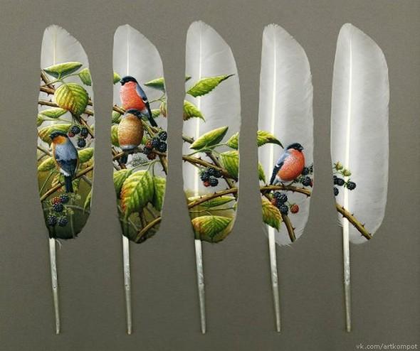 Рисунки на перьях от Ян Дави. Изображение № 2.