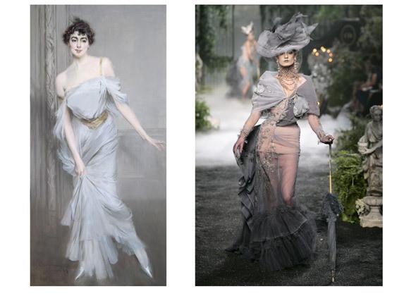 Джованни Болдини (1842–1931) «Портрет Мадам Чарли Макс». 1896. Холст, масло / Платье из коллекции haute couture FW 2005 . Изображение № 5.