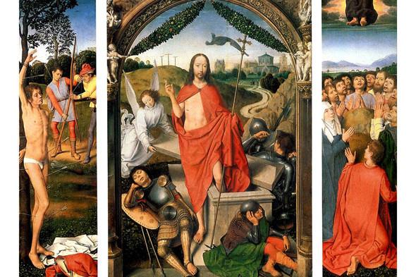 Ганс Мемлинг. Воскресение с Мученичеством св. Себастьянаи Вознесением. Изображение № 1.