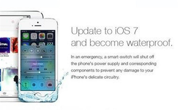 Владельцы iPhone поверили в шутку про «водонепроницаемый iOS7». Изображение № 1.