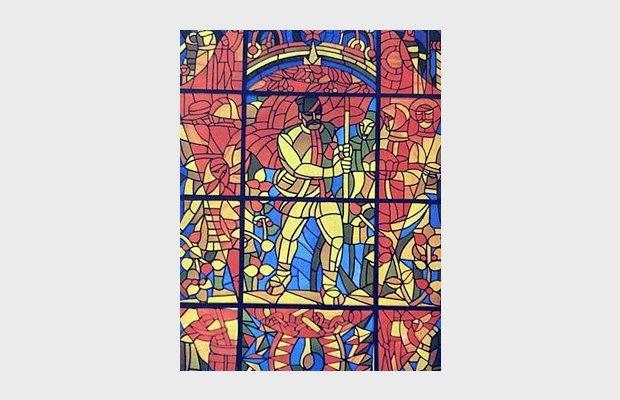 Ф. Хэмурару — Витраж «Освобождение» на фасаде Примэрии муниципалитета в Кишинёве. Изображение № 13.