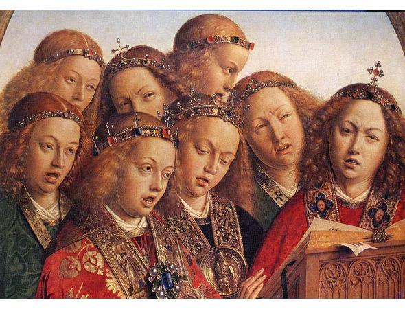 Картина «Поющие ангелы», Ван Эйк, 1423. Изображение № 29.