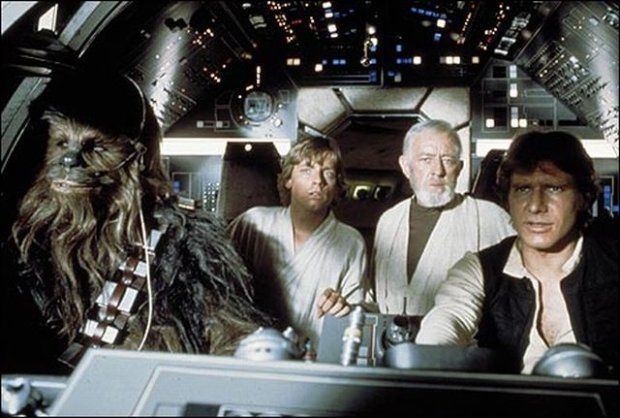 Чубакка, Люк Скайуокер, Оби-Ван Кеноби и Хэн Соло в пилотной кабине. Изображение № 2.