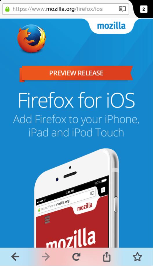 Mozilla выпустила превью Firefox для iOS . Изображение № 1.