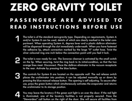 Все указатели и технические знаки на космическом корабле в фильме «Одиссея 2010» представляют из себя инструкцию по использованию гравитационного туалета.. Изображение № 7.