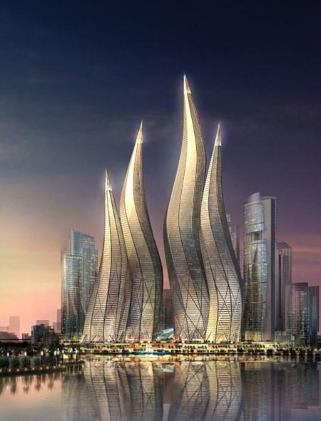 Башни вформе горящих свечей вДубаи. Изображение № 3.