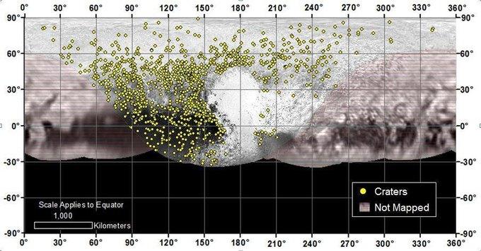 Поверхность Плутона. Жёлтыми точками отмечено наличие кратеров.. Изображение № 1.