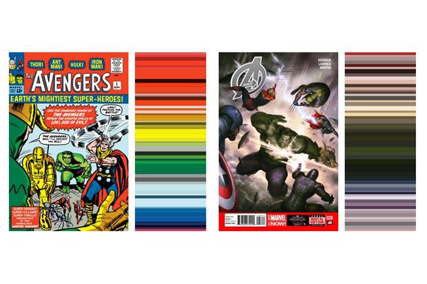 Инфографика показала палитру вкомиксах о Мстителях за 52 года . Изображение № 2.