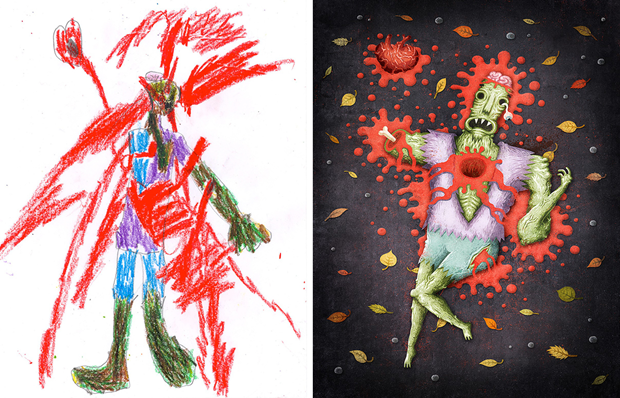Художники создали монстров наоснове детских рисунков. Изображение № 28.