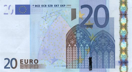 Художник в знак протеста изрисовал банкноты на 3555 евро. Изображение № 49.