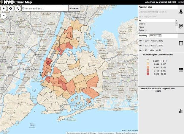 Полиция Нью-Йорка показала карту преступлений. Изображение № 1.