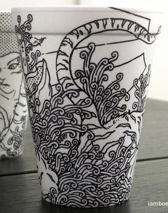 Рисунки маркером накофейных стаканчиках. Изображение № 2.