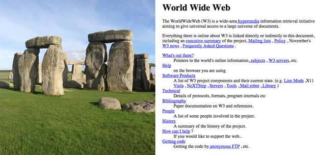 Стоунхендж (3000–2000 годы до нашей эры) и W3.org (1992). Изображение № 1.
