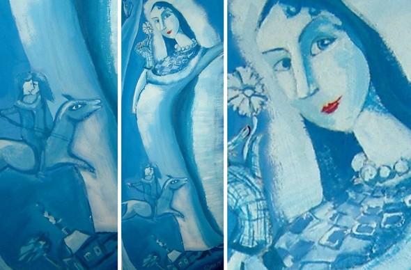 """Ирма Папаскири. """"Невеста"""". Акварельная бумага, темпера. Молодая невеста загадочна и мила, она витает в своих мечтах ... 2005 год. 56,5х28 см.  . Изображение №3."""