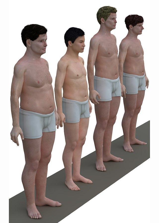 Художник создал модели тел мужчин разных стран. Изображение № 1.