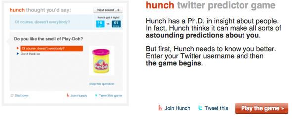 «Hunch» - Твиттер игра предсказание. Изображение № 1.