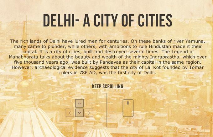 Дизайнер создал интерактивный таймлайн города Дели. Изображение № 1.