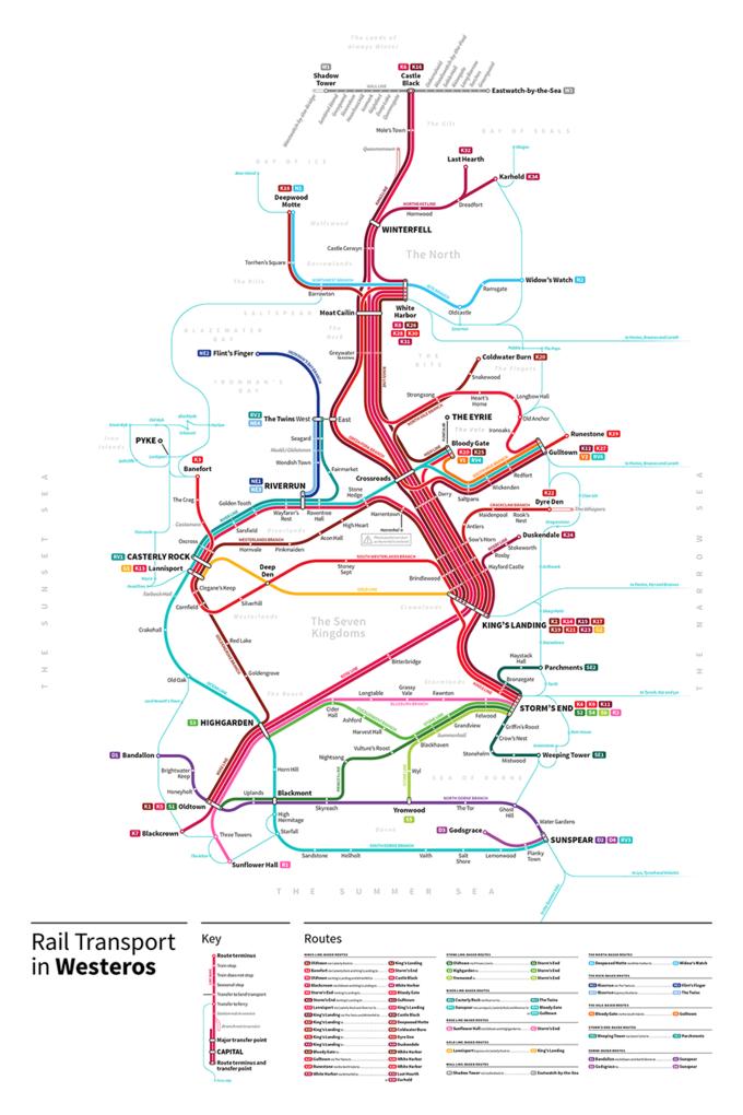 Дизайнер создал схему метро для мира «Игры престолов». Изображение № 3.